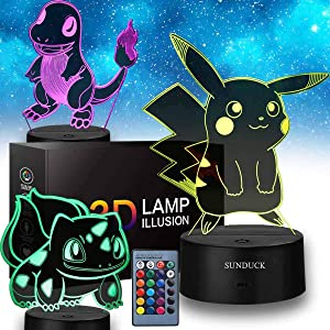 3D Pikachu Toys Night Light - 3D Illusion Lamp Three Patterns and 16 Color Change Decor Lamp with Remote Control, Christmas Gifts for Kids, Boys, Girls