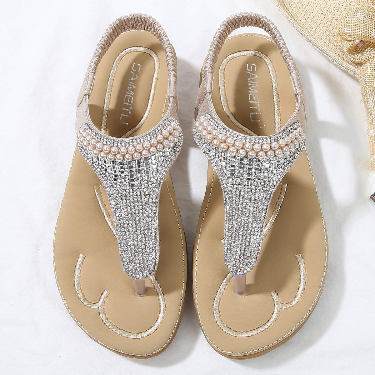 CHENXI Women Summer Rhinestone Beaded Flip Flops Flat Thong Sandals with Ankle Strap