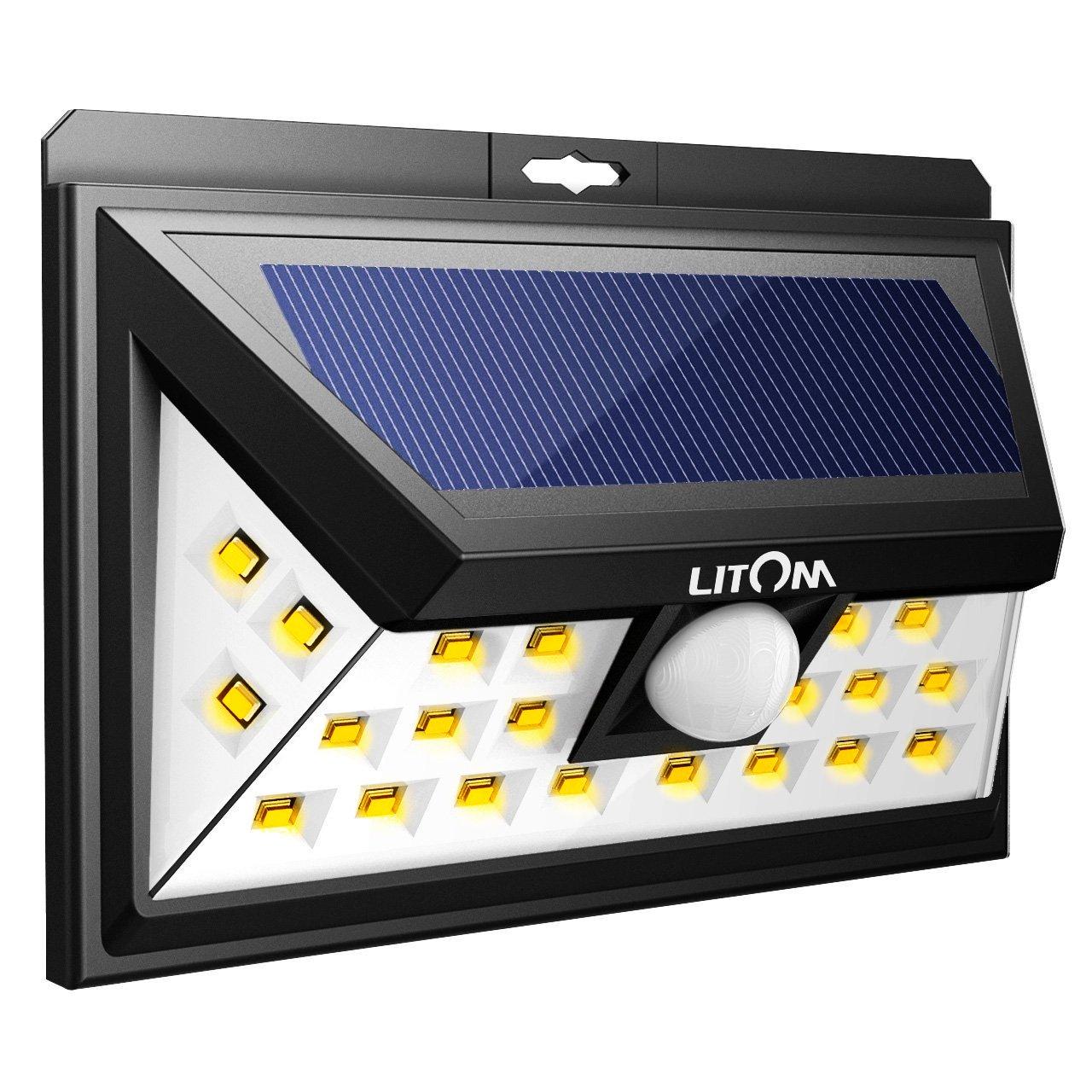LITOM Solar Lights, Black 24 LED Motion Sensor Solar Lights Outdoor, Super Bright Wide Angle Security Light for Front Door, Yard, Garage, Deck, Porch, Shed, Walkway, Fence