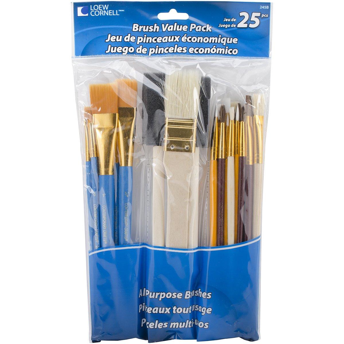 Loew-Cornell 245B Brush Set Pack Of 25 Multi Color 1-Pack Of 25 2