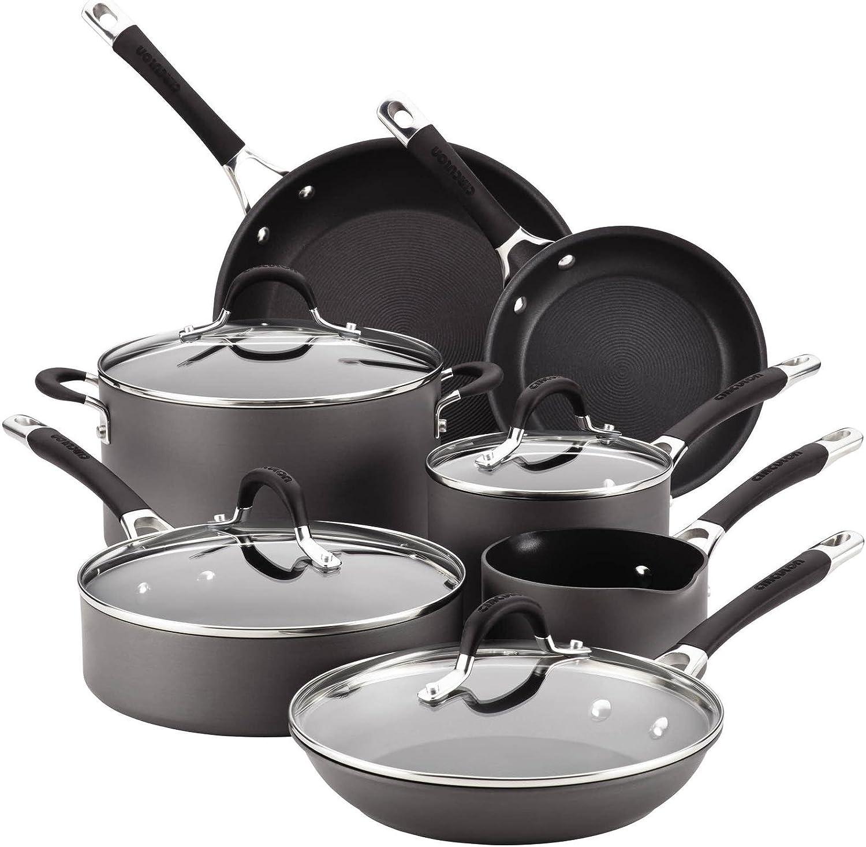 Circulon Momentum Hard-Anodized Nonstick 11-Piece Cookware Set Gray
