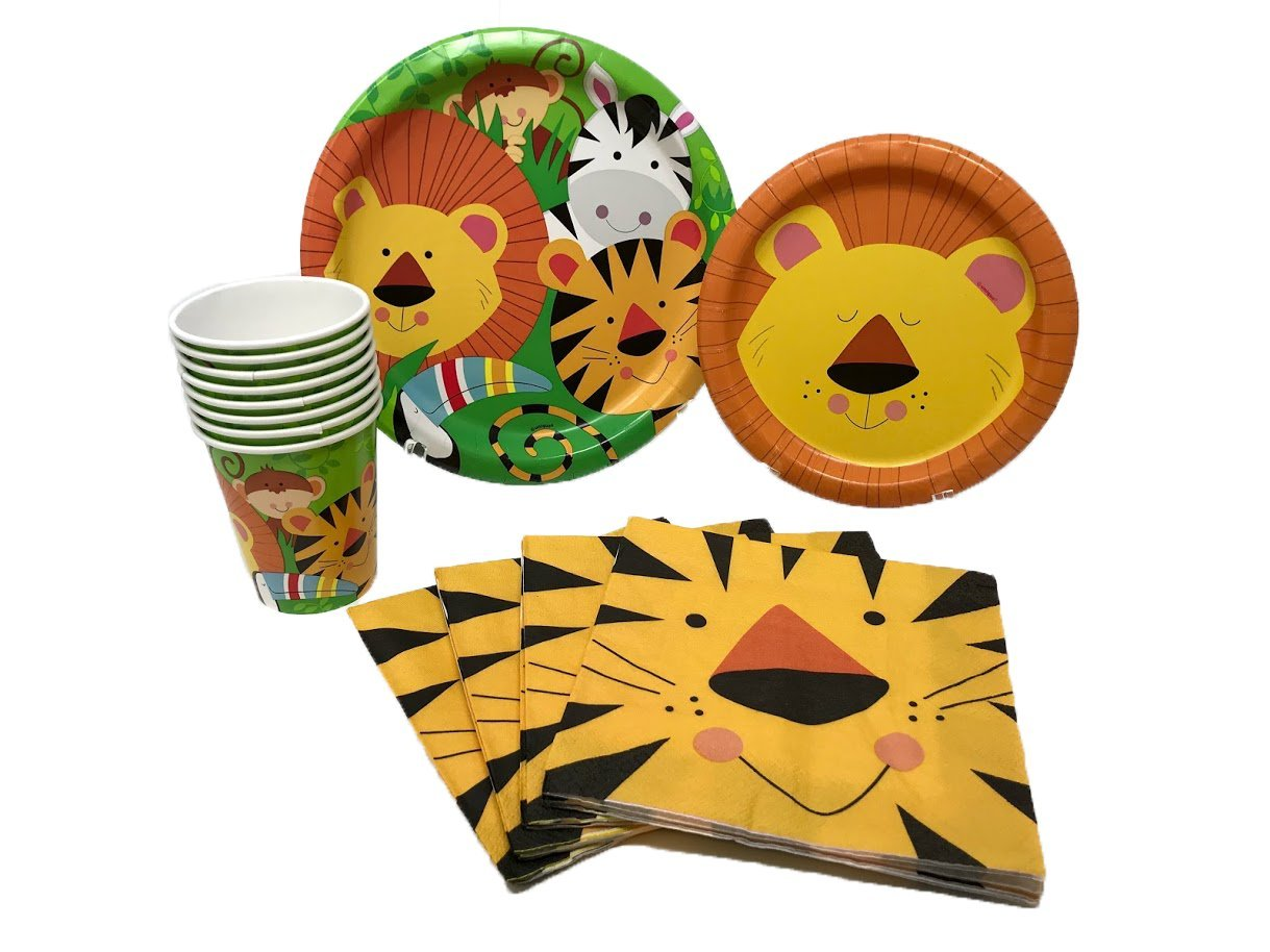 Jungle Safari Animal Friends Birthday Party Supplies Pack for 8 Guests Including Lunch Plates, Dessert Plates, Lunch Napkins, Cups