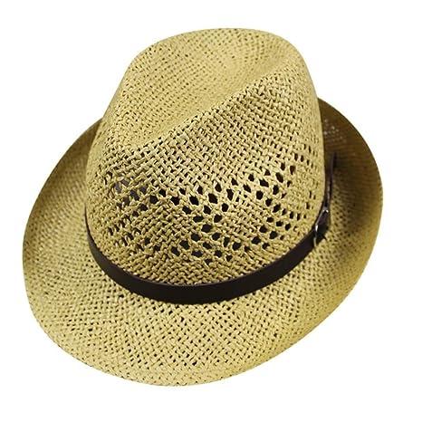 Yesmile Sombrero Unisex Hombres Mujer Playa Paja Sombrero Jazz Panama  Sombrero Gorra Gangster Protección Solar ( bed97a747ba