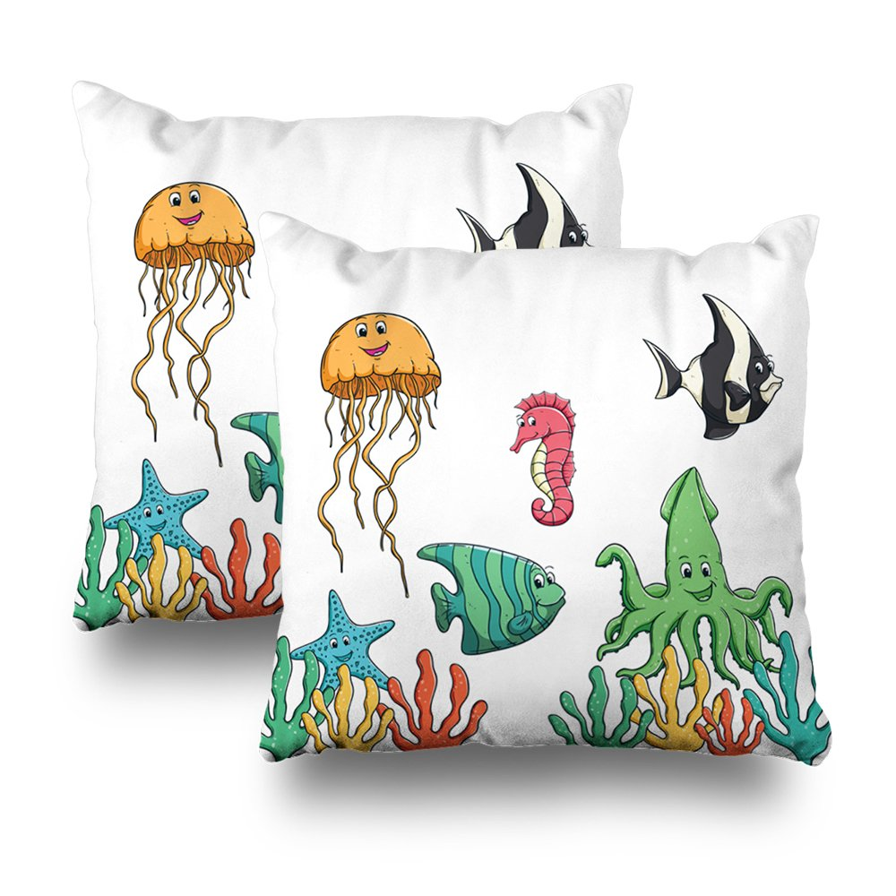 Soopat Decorativepillows Covers 18''x18'' set of 2, Two Sides Printed Happy Sea Animal atiAnd Using Colored Or Doodle Art Throw Pillow Cases Home Decor Nice Gift Kitchen Garden Sofa Bedroom