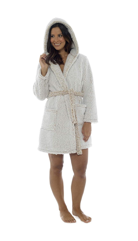 Ladies Fleece Stripe Snuggle Hooded Dressing Gown Robe  Amazon.co.uk   Clothing 87662c45f