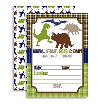 amazon com growl stomp roar dinosaur birthday party invitations for