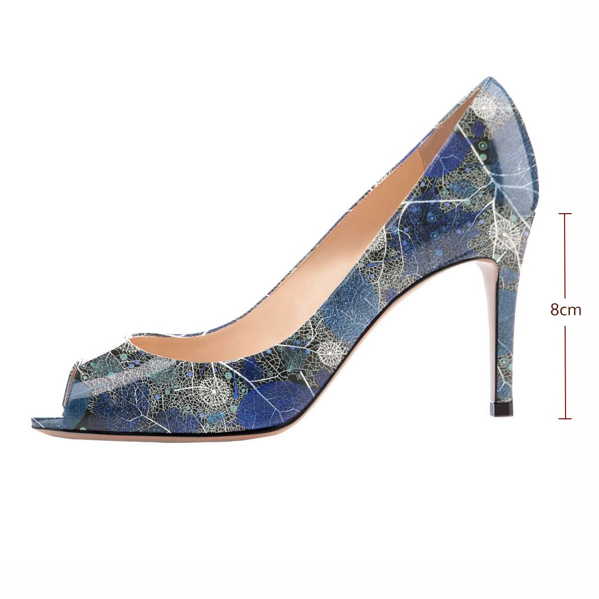 Eldof Women Peep Toe Pumps Mid-Heel Pumps Formal Wedding Bridal Classic Heel Open Toe Stiletto B07F8PDVCW 13 B(M) US|Blue-leaf