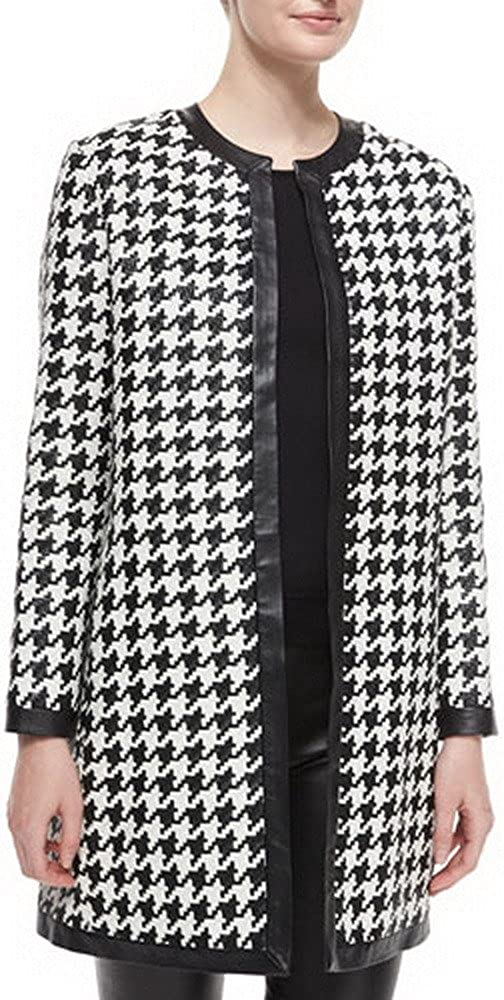 Angel/&Lily Houndstooth Double-Breasted Long Sleeve Coat Plus 1x-10x