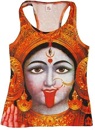 TICILA Mujer Tank Top Camiseta Rojo Hindú Diosa Deity Kali Ma ...