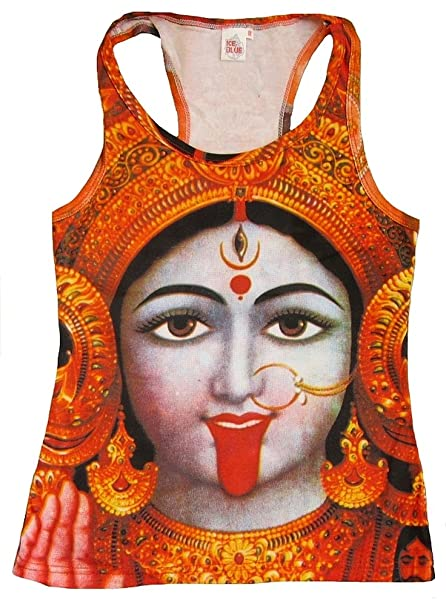 TICILA Mujer Tank Top Camiseta Rojo Hindú Diosa Deity Kali MA Psychodelic Goa Trance DJ Beach