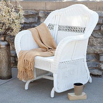 Amazon.com : Coral Coast Casco Bay Resin Wicker Outdoor Glider Chair :  Garden U0026 Outdoor