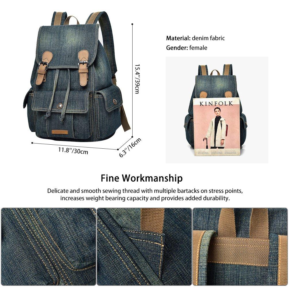 Vbiger Vintage Canvas Backpack Casual Shoulder Bag Large Capacity Rucksack for Men and Women (Grey)