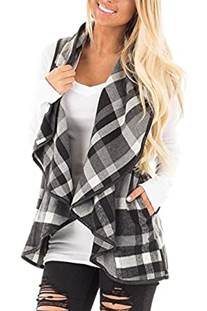 EastLife Womens Casual Lapel Open Front Sleeveless Plaid Vest ...