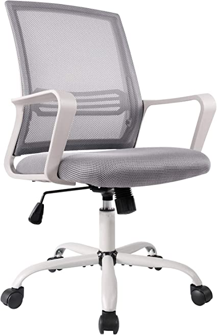 Office Chair Mid Back Mesh Office Computer Swivel Desk Task Chair Ergonomic Executive Chair With Armrests Kitchen Dining