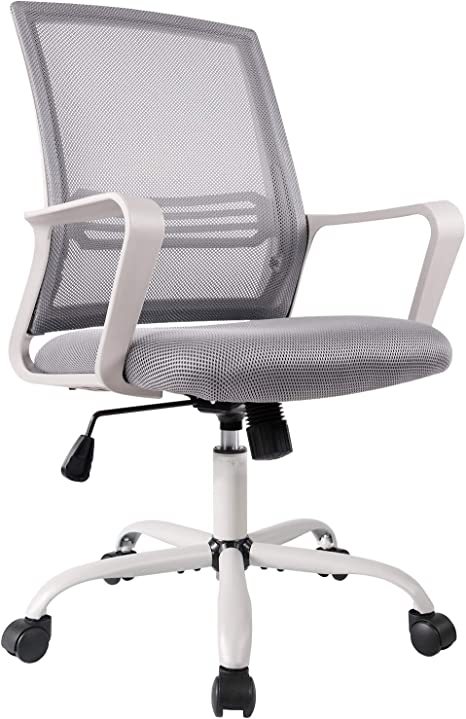 Amazon Com Office Chair Mid Back Mesh Office Computer Swivel Desk Task Chair Ergonomic Executive Chair With Armrests Kitchen Dining