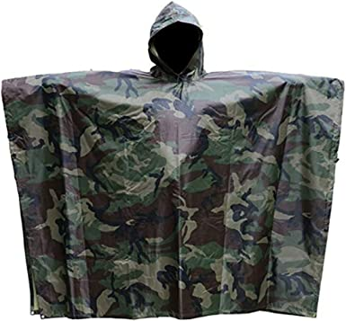 Camo Rain Poncho Unisex Hooded Waterproof Raincoat Outdoor Windbreak Rain Jacket