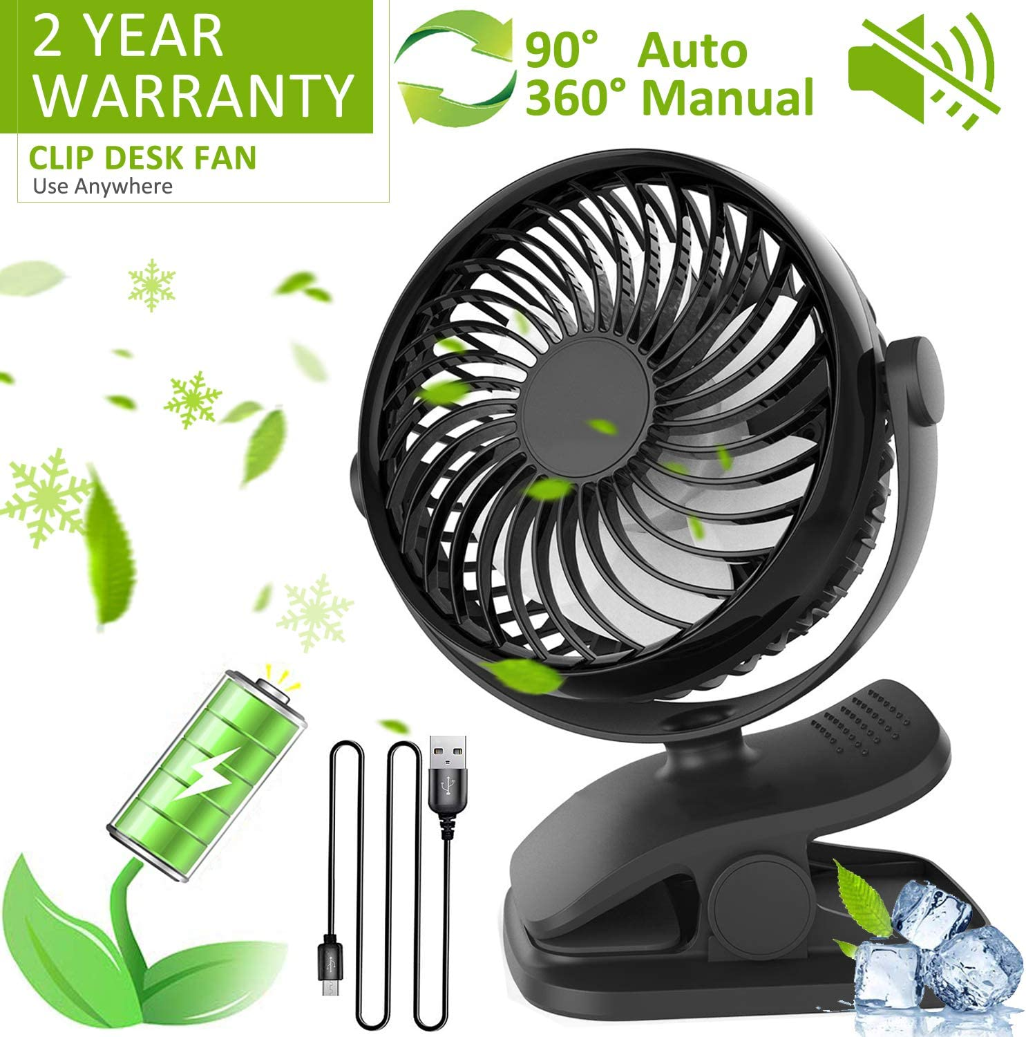 FURBB Stroller Fan Clip On Desk Fan 2200mAh Rechargeable Battery Operated 360 Rotation 3 Adjustable Speeds USB Portable Personal Mini Fan for Baby Stroller, Office, Home, Travel, Camping, Gym Black
