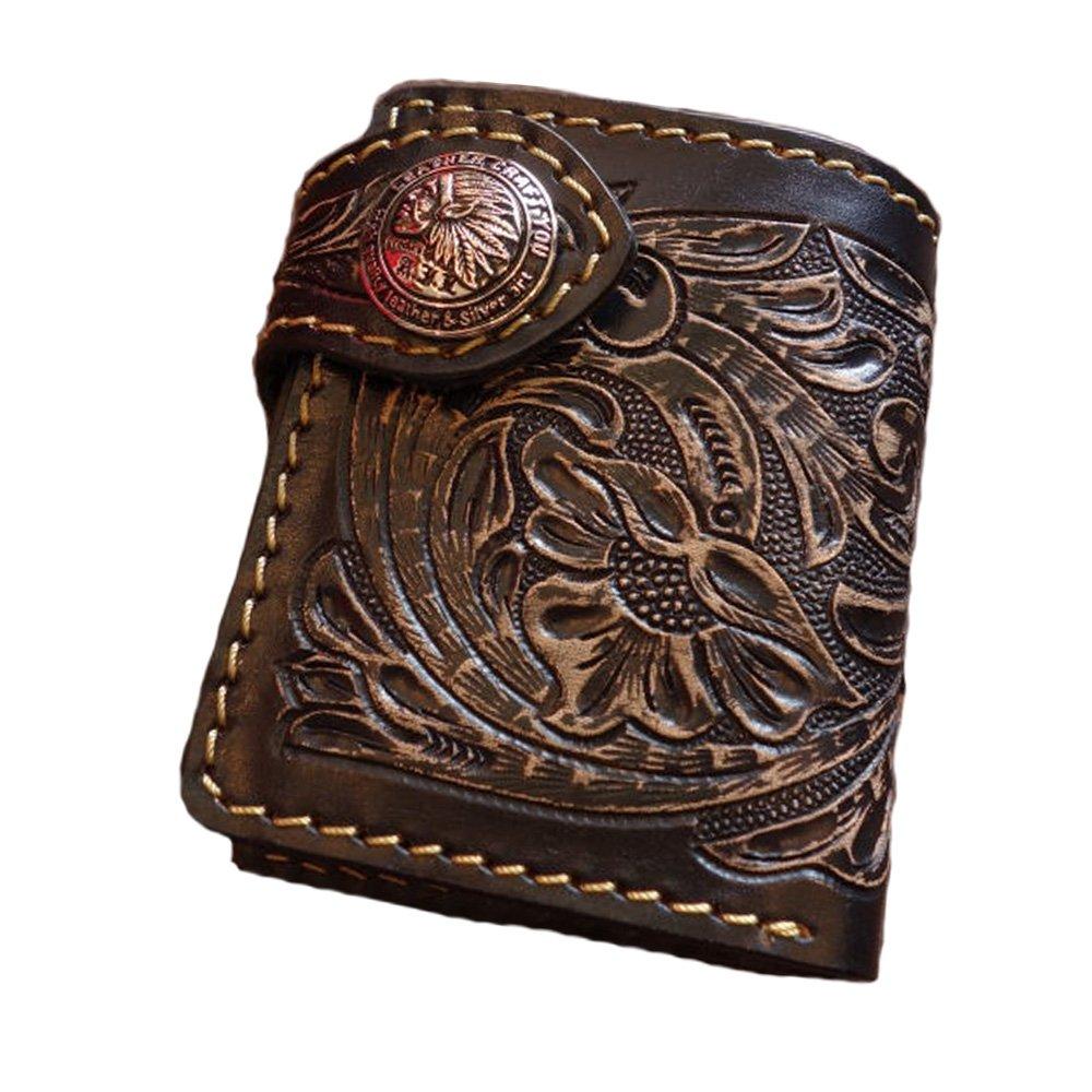 二つ折り財布 ショートウォレット 本革 レザー 2つ折り財布 革財布 バイカーズウォレット swt-cv001 B01F0ASBPU  ブラック