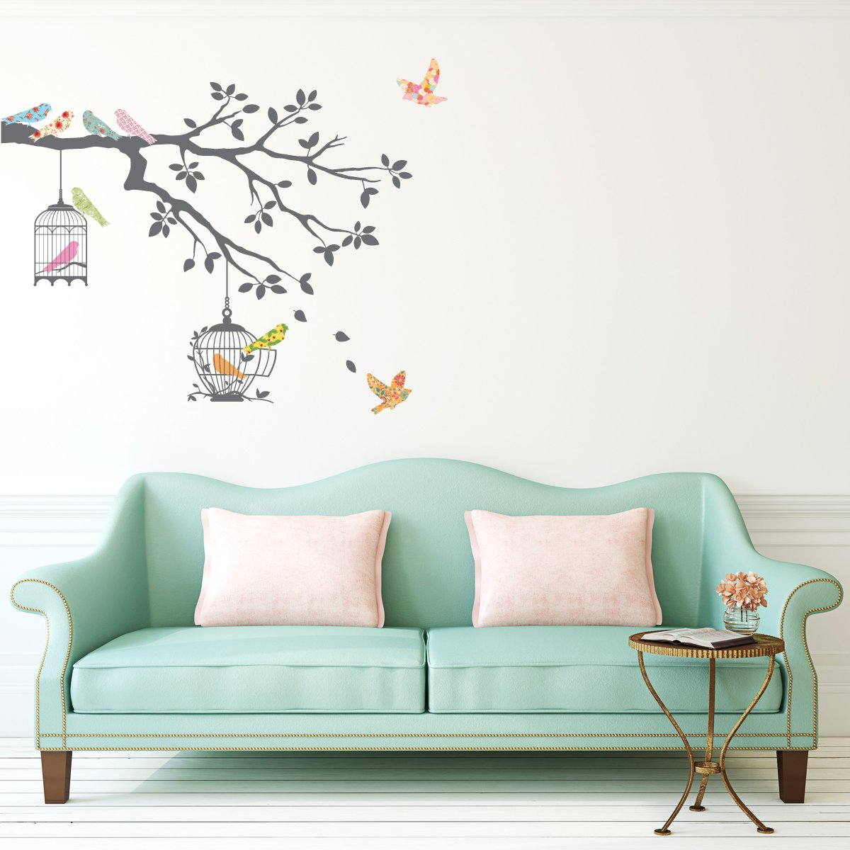 Amazoncom Decowall DW Birds On Tree Branch With Bird Cages - Wall decals birds