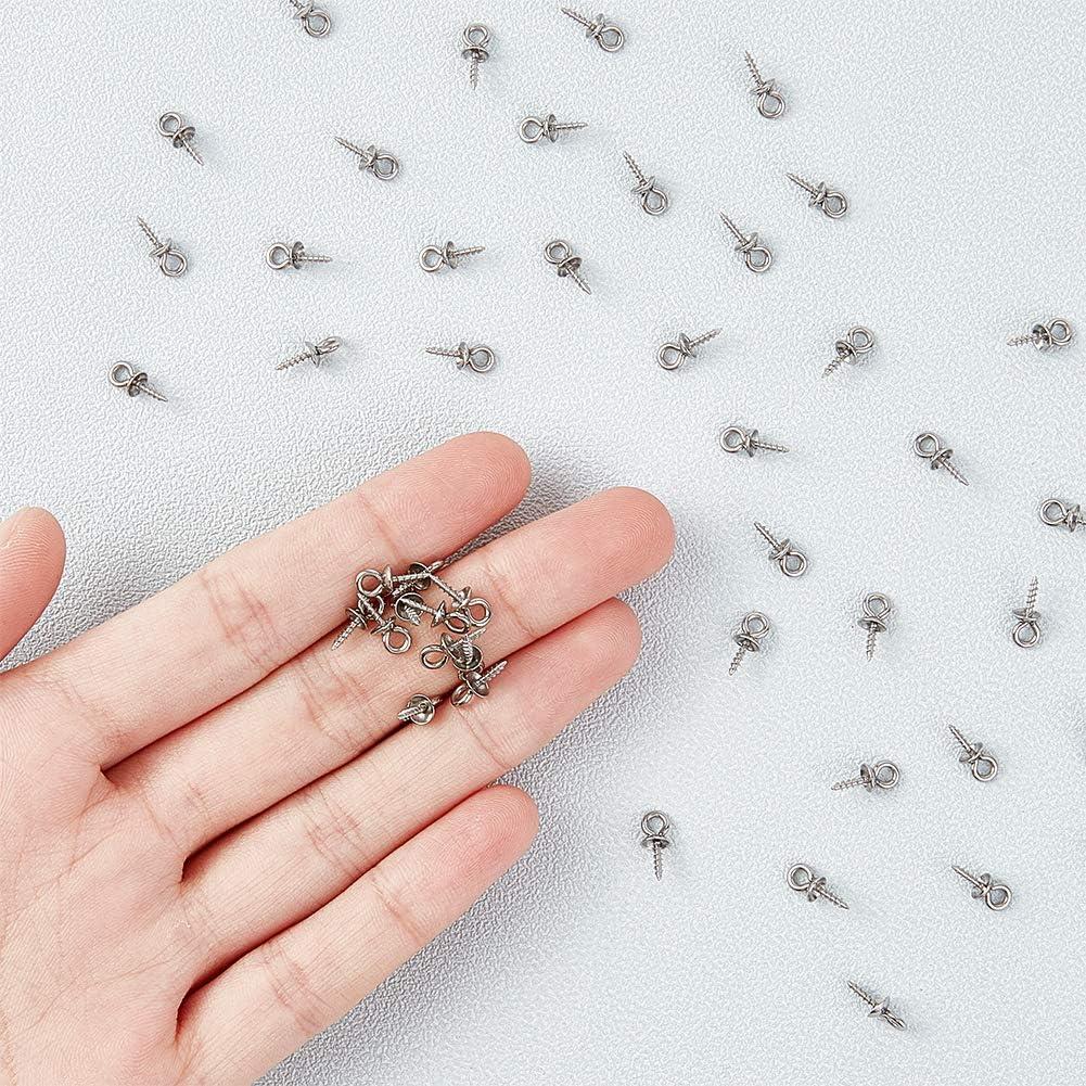 UNICRAFTALE 150 Pieza de 7x4 mm de Acero Inoxidable con Forma de Taza Perla Perla Colgantes Peque/ños Tornillos Broches de Ojo Cierres Ganchos 0.7 mm Tornillos de Ojo para la Fabricaci/ón de Joyer/ía
