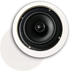 """CT Sounds   6.5"""" in-Ceiling Home Audio Speaker   50W (RMS)   100W (MAX)   2-Way Weatherproof   8-Ohm Impedance   Silk-Dome Tweeter with Circular Protection Panel   Bio 6.5"""" Theater Quality Speaker"""
