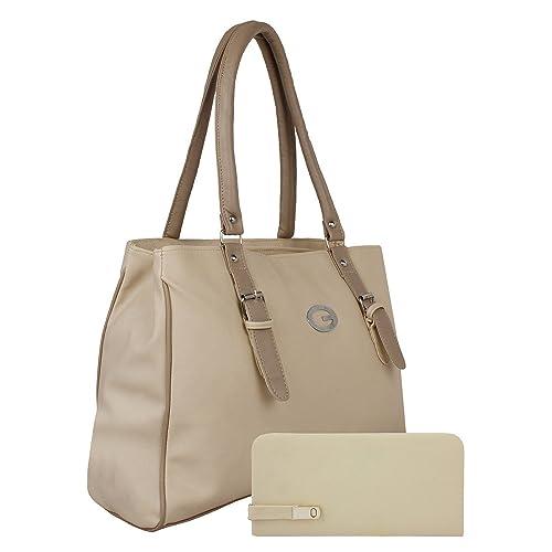 0f297567898 Alice Women s And Girls Pu Stylish Handbag And Wallet Clutch Combo(Cream)   Amazon.in  Shoes   Handbags