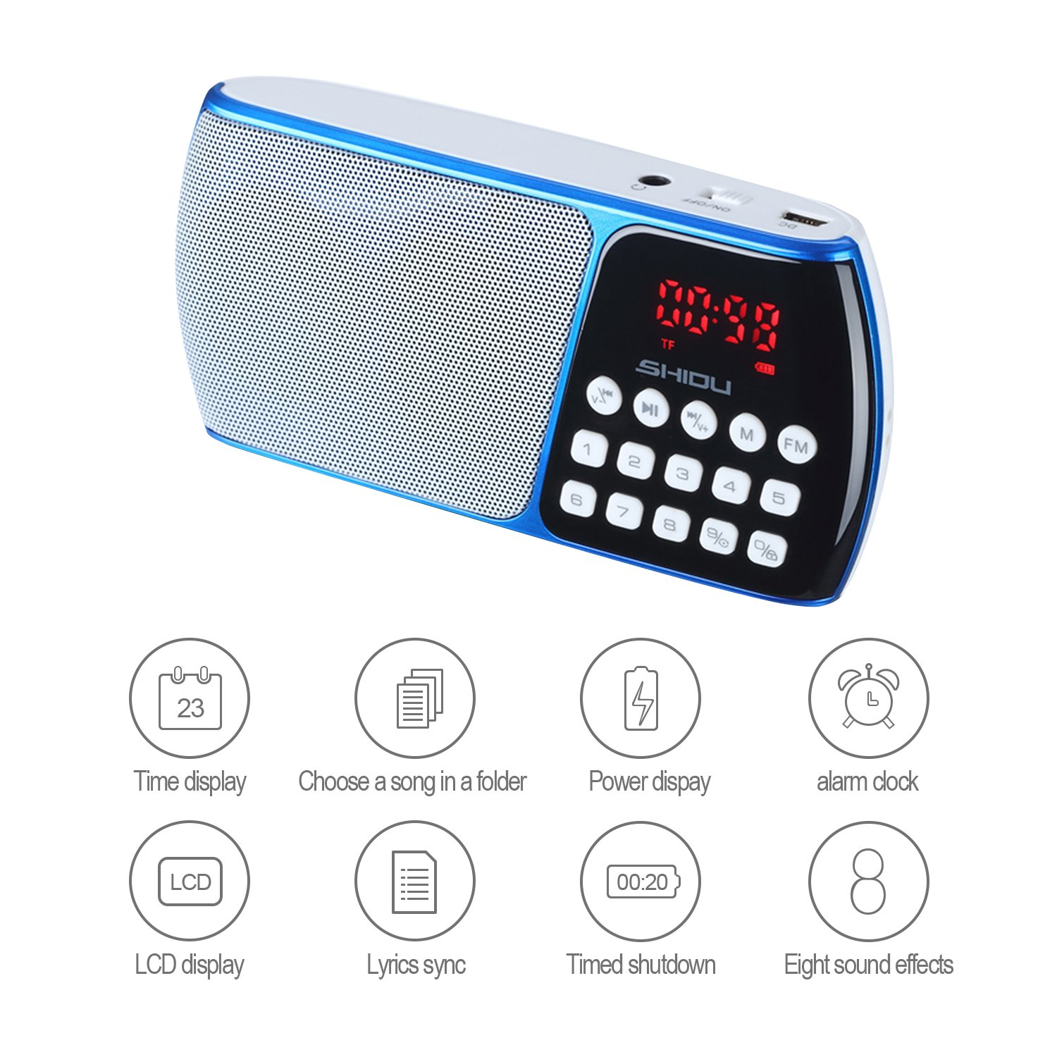 SHIDU SD-S158 Portable FM Radio with TF Card Port, Rechargeable Battery and LED Display