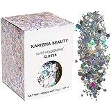 KARIZMA Holographic Silver Body Glitter. 30g Chunky Face Glitter, Hair Glitter, Eye Glitter and Body Glitter for Women. Rave