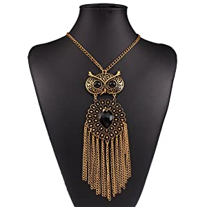 Owl Tassels Explosion models exaggeration fashion retro false collar necklace
