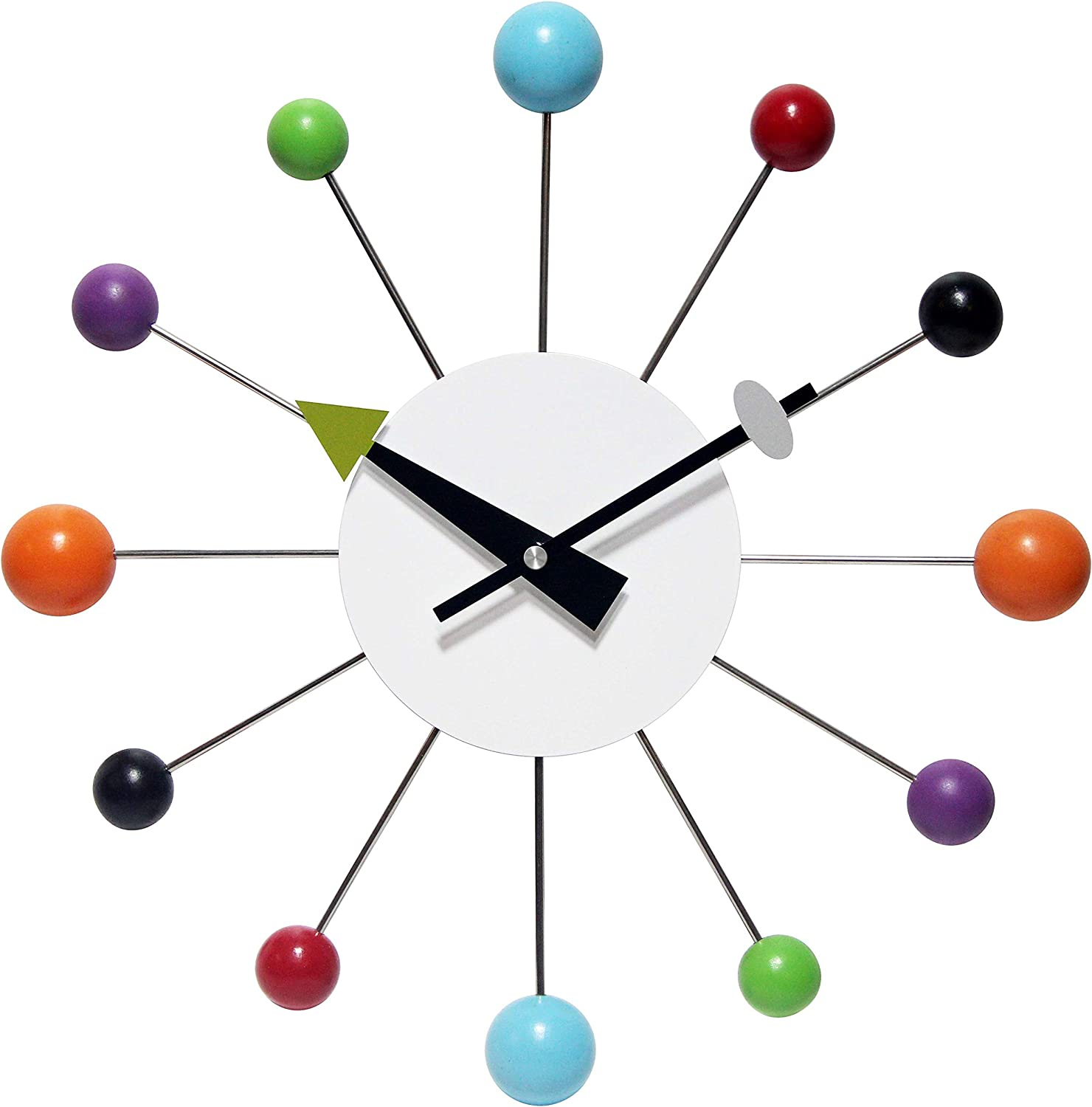Infinity Instruments Orb Spoke Midcentury Modern 15 inch Retro Starburst Ball Wall Clock Quiet Quartz Movement Mid Century Decorative, Multicolor