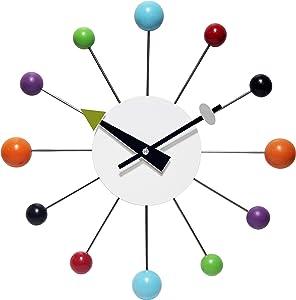 Infinity Instruments Orb Spoke Midcentury Modern 15 inch Retro Starburst Ball Wall Clock Quiet Quartz Movement Mid Century Decorative, Multicolor