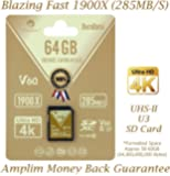 Amplim 64GB UHS-II SDXC SD Card Blazing Fast Read 285MB/S (1900X) Class 10 U3 Ultra High Speed V60 UHSII Extreme Pro SD XC Memory Card. Professional 4K 8K Video Shooting 64 GB/64G TF Flash. New