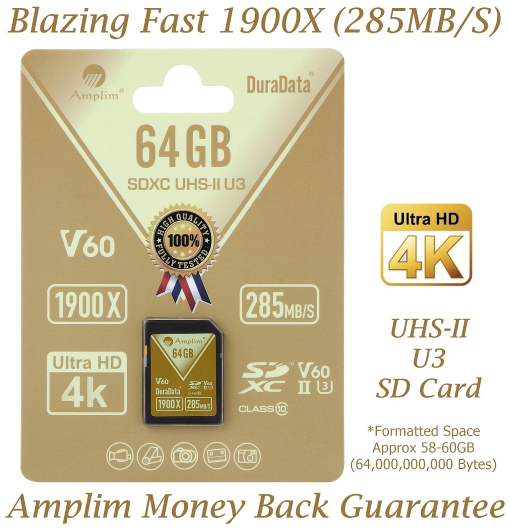 Amplim 64GB UHS-II SD Card: Ultra Fast 285MB/S (1900X), U3, Class 10 High Speed Flash Memory Card for 4K, 8K, Full HD, 3D, HDR, 360 Video. 64 GB / 64G TF XC SDXC Card. New Nov 2017
