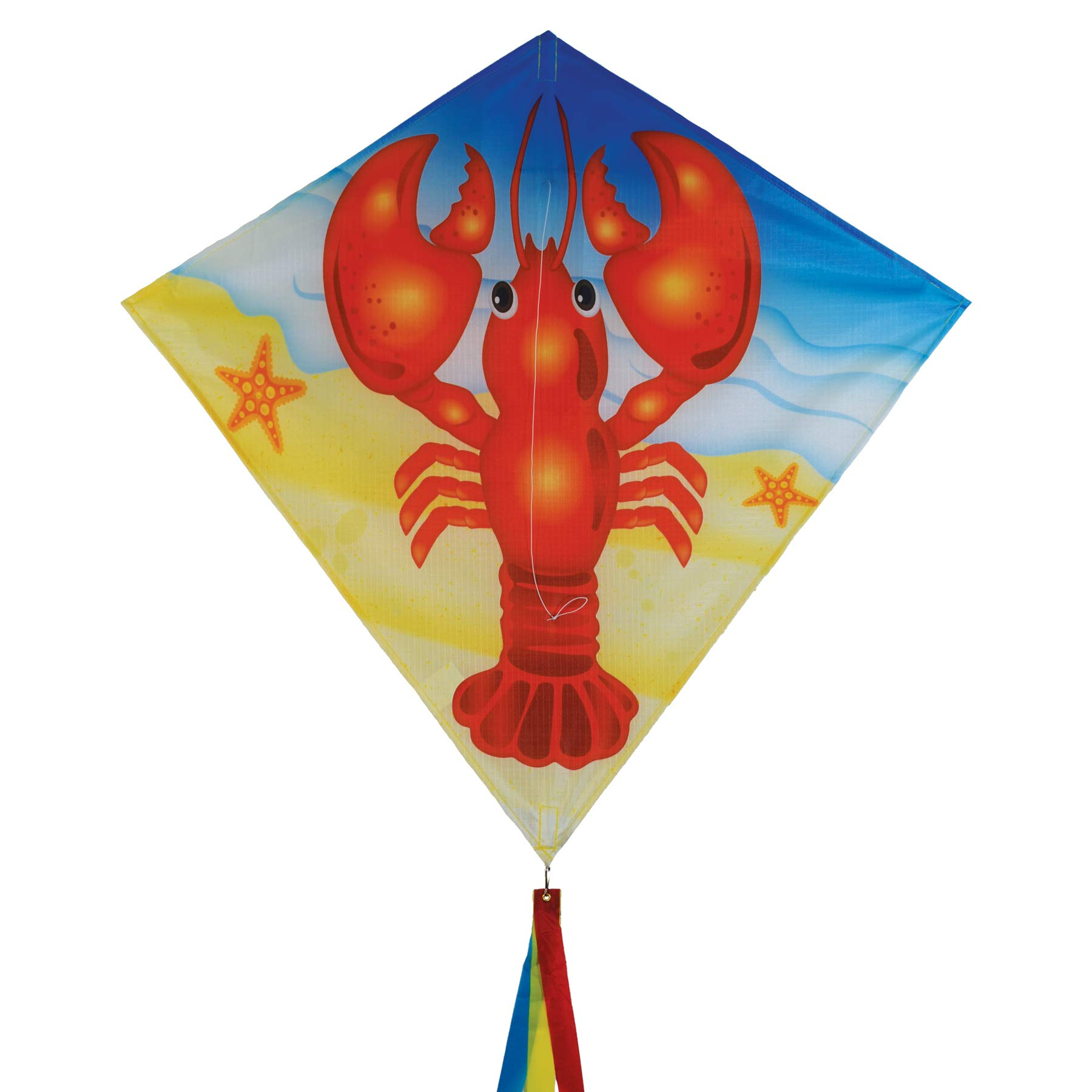 In the Breeze 3217 Lobster Diamond Kite - Single Line - Includes Kite Line & Bag - Fun Printed & Appliqué Design, 30'' by In the Breeze