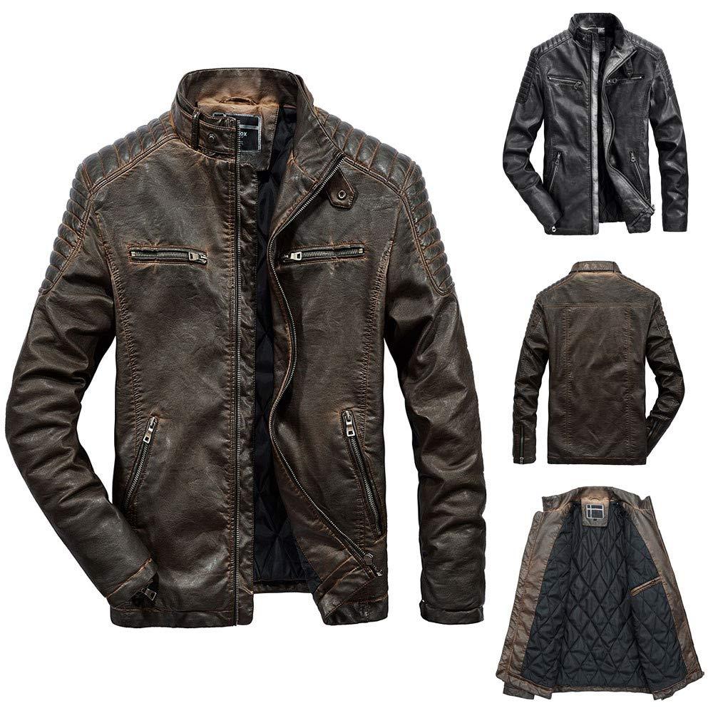 Long Rain Coats for Men with Hood. Fashion Men's Autumn Winter Casual Pocket Zipper Thermal Leather Jacket Top Coat