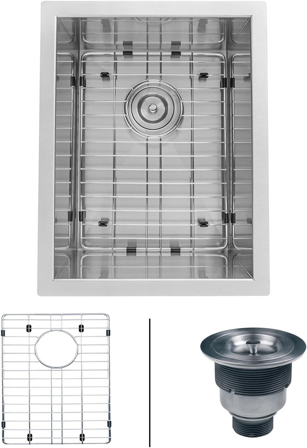Ruvati 14-inch Undermount 16 Gauge Zero Raduis Bar Prep Kitchen Sink Stainless Steel Single Bowl – RVH7110