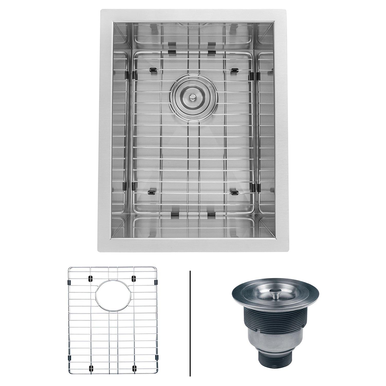 Ruvati 14-inch Undermount 16 Gauge Zero Raduis Bar Prep Kitchen Sink Stainless Steel Single Bowl - RVH7110 by Ruvati
