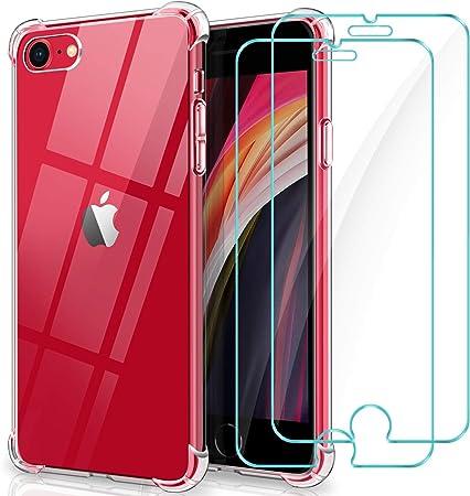WINmall Cover per iPhone SE 2020, 2 Pack Protettiva in Vetro Temperato, Cover iPhone 8/7, [Rinforzare la Versione con Quattro Angoli] Antiurto ...