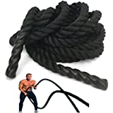 """Battle Rope NEXPro - Polydac Undulation Rope Exercise Fitness Training - 1.5"""" width Avail. in 30ft, 40ft, 50ft Length BLACK"""