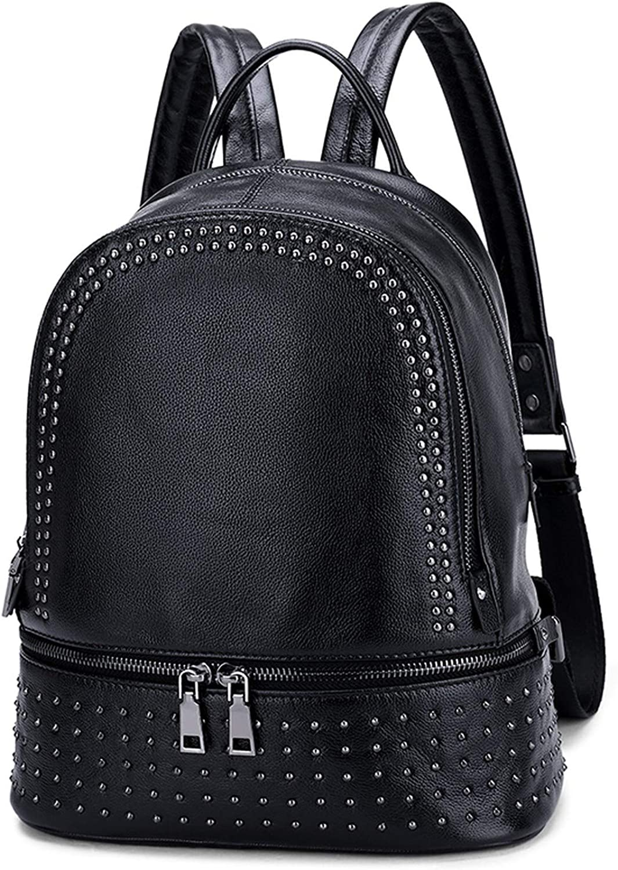 New Arrival Fashion Rivet Pattn Women Backpack All-match Ladies Bagpack Genuine Leath Leisure Korean Female Travel Bag,Black,26cmx14cmx32cm