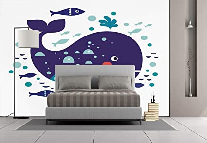 Large Wall Mural Sticker [ Whale Decor,Navy Sea Theme Cartoon Big Fish With  Others