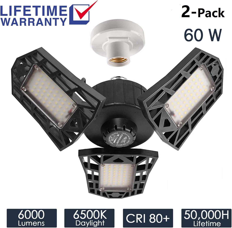 2-Pack Garage Lights 60W LED Garage Lighting - 6000LM 6500K LED Three-Leaf Garage Ceiling Light Fixtures, LED Shop Light with Adjustable Multi-Position Panels, Triple Glow Light for Garage, Workshop