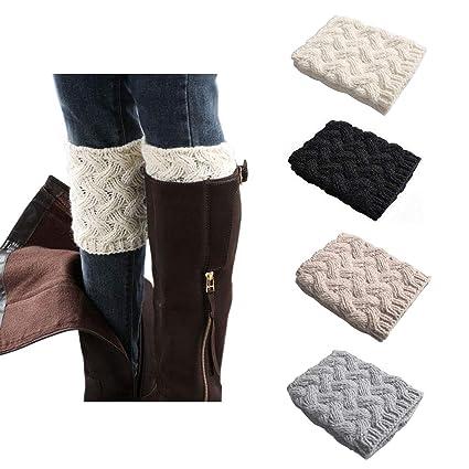 Women Boot Cuffs   Winter Knitted Boots Socks Crochet Short Leg Warmers by Muqu