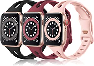 (3 Pack) Vcegari Compatible with Apple Watch SE Bands 40mm Women Girls, Slim Replacement Silicone Strap for iWatch 38mm Band Series 6 5 4 3 2 1, Black/Wine/Pink
