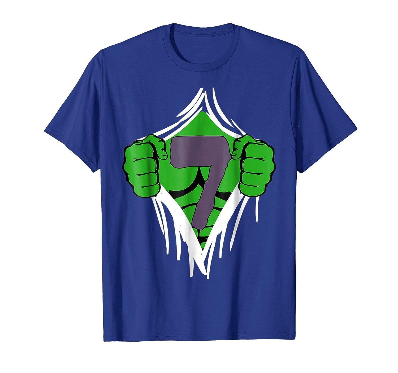 Green Man Chest Superhero Birthday Shirt For 7 Year Old Boys Teechatpro