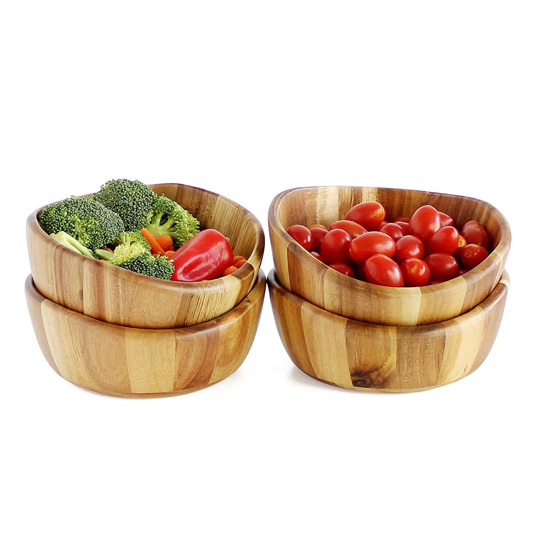 WELLAND 4 PCS Salad Bowls Set 7.87'' x 7.48'' x 3.35'' Acacia Wood Medium Size Bowls for Fruits and Salads,