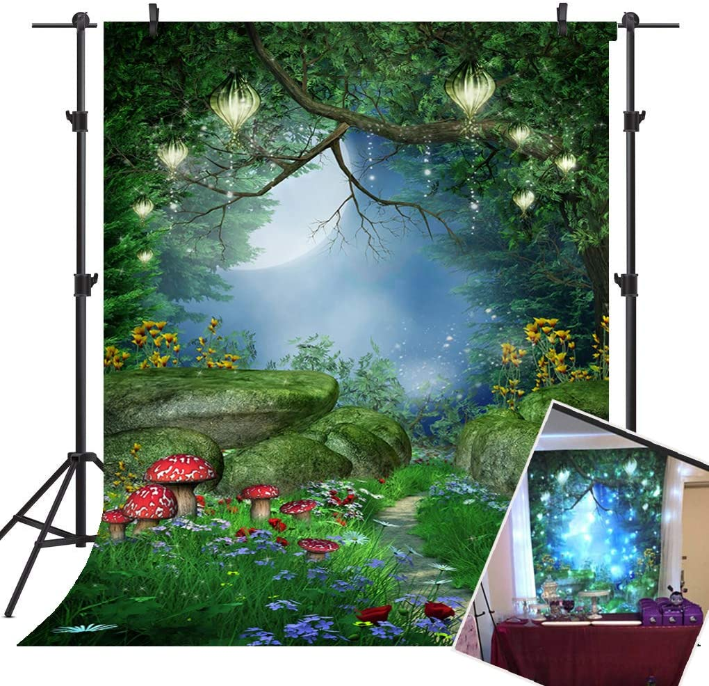 Mehofoto Enchanted Forest Backdrop Mushrooms and Fairy Lanterns Photo Background 7x5ft Fairy Forest Backdrops for Children Kid's Birthday Party Studio Props