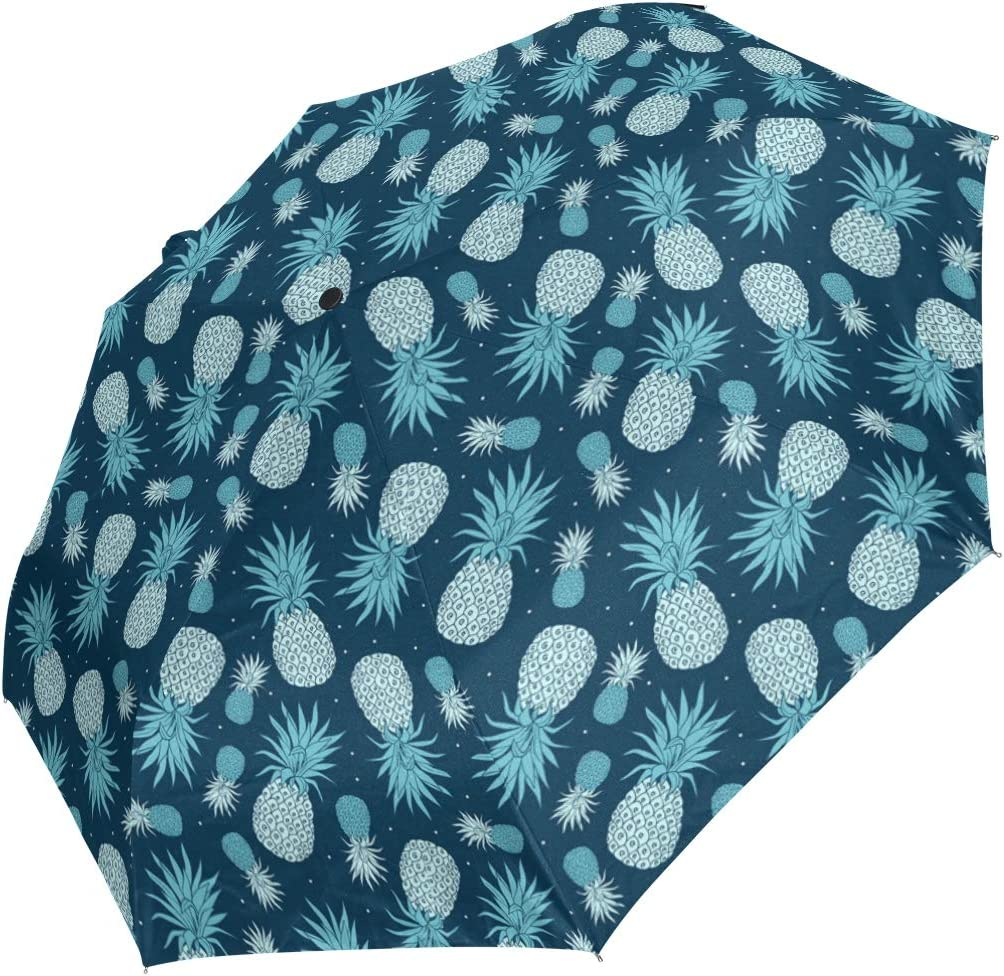 Vintage Pineapple Print Blue fashion print cute Windproof automatic tri-fold umbrella sun UV protection Sun umbrella