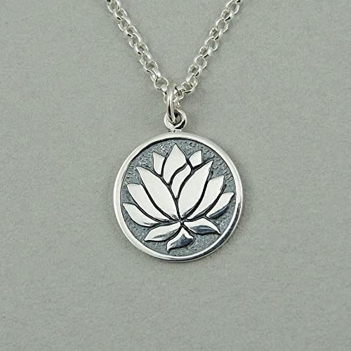 Amazoncom Sterling Silver Lotus Flower Coin Necklace Handmade