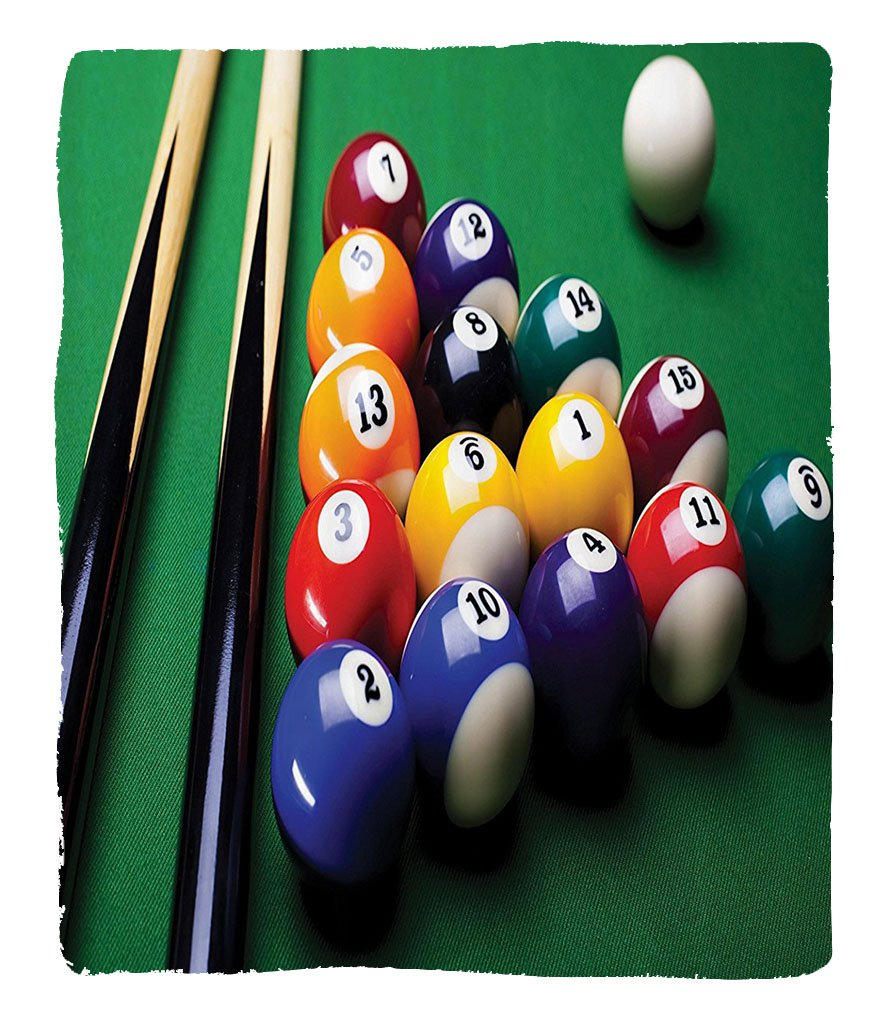 Chaoran 1 Fleece Blanket on Amazon Super Silky Soft All Season Super Plush Manly Decor Collection Billiard Pool Balls Arrangementnooker Contest Beginning Entertainment Game Picture Fabric et Red